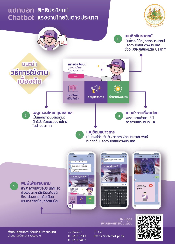 ประชาสัมพันธ์ระบบตอบข้อมูลสิทธิประโยชน์แรงงานไทยในต่างประเทศแบบอัตโนมัติ (Chatbot)